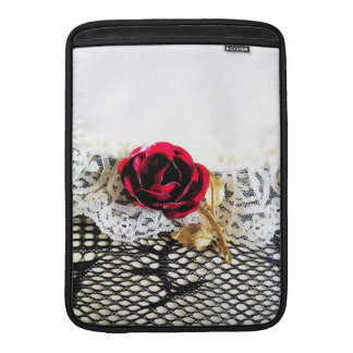 Romantic red rose and white lace MacBook sleeve