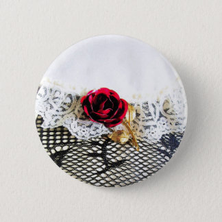 Romantic red rose and white lace pinback button