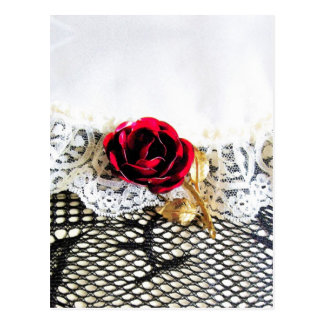 Romantic red rose and white lace postcard