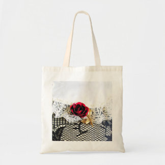 Romantic red rose and white lace tote bag