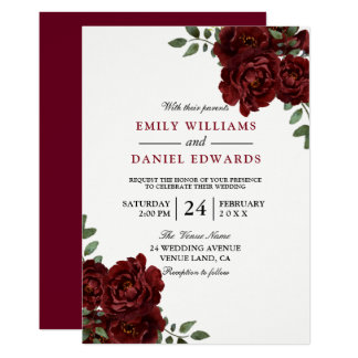 Romantic Red Rose Burgundy Elegant Wedding Card