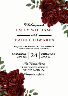 Red Rose Burgundy Elegant Wedding Invitation