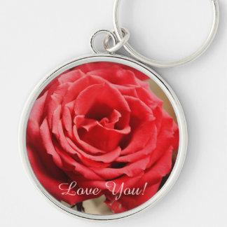 Romantic red Rose & custom text keychain