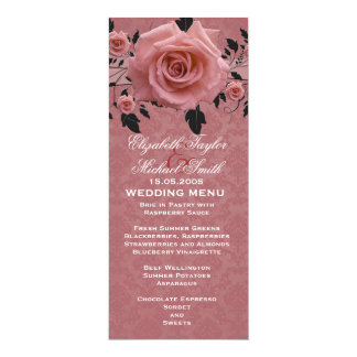 Romantic Red Rose Damask Wedding Menu Card
