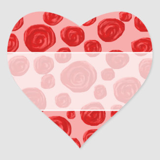 Romantic red rose pattern. On Pink. Heart Sticker