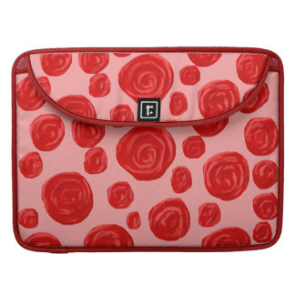 Romantic red rose pattern On Pink Sleeve For MacBooks