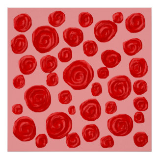 Romantic red rose pattern. On Pink. Poster
