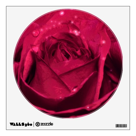 Romantic Red Rose With Sparkling Dewdrops Wall Decal