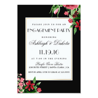 Romantic Red Rosebud Engagement Party Card