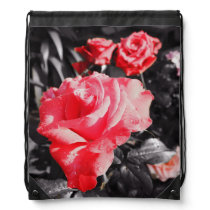 Romantic Red Roses Drawstring Bag