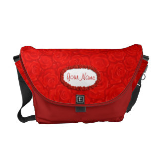 Romantic Red Roses Floral Pattern Messenger Bag
