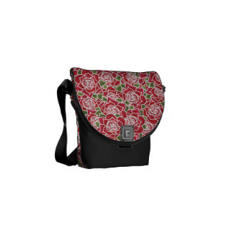 Romantic Red Roses Hand-painted Pattern Messenger Bag