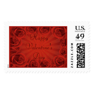 Romantic Red Roses Happy Valentine's Day Postage Stamp