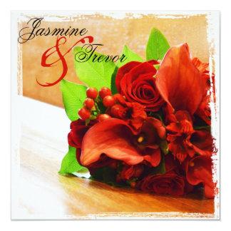 Romantic Red Roses & Lilies Wedding Invitation