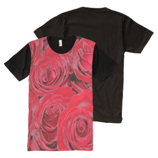 Romantic Red Roses Love Flowers, Floral Shirt