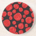 Romantic red roses on black background. beverage coaster