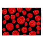 Romantic red roses on black background. Custom Cards