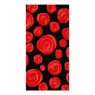 Romantic red roses on black background. Custom Card