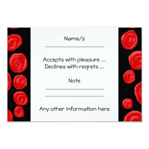 "Romantic red roses on black background. Custom 3.5"" X 5"" Invitation Card"