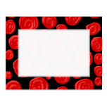 Romantic red roses on black background. Custom Postcard