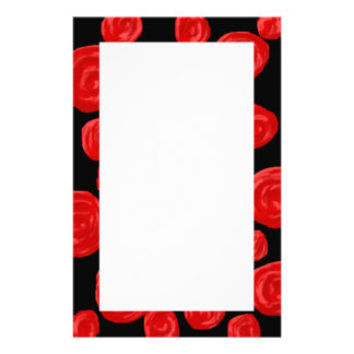 Romantic red roses on black background. Custom Stationery