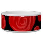 Romantic red roses on black background. dog bowl