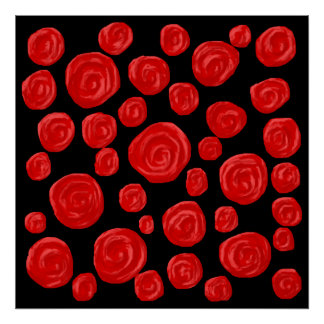 Romantic red roses on black background. posters