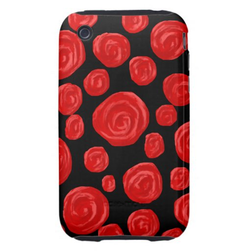 Romantic red roses on black background. tough iPhone 3 case