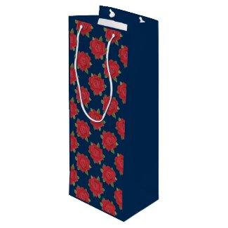 Romantic Red Roses on Blue Custom Wine Gift Bag