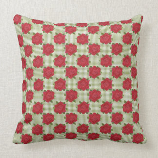 Romantic Red Roses on Green Check Gingham Throw Pillow