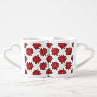 Romantic Red Roses on White Custom Nesting Mugs Couple Mugs