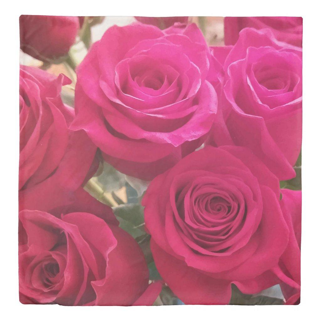 Romantic Red Roses Print Queen Duvet Cover