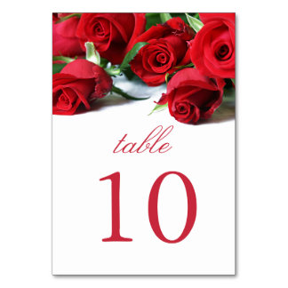 Romantic Red Roses Table Card