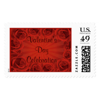 Romantic Red Roses Valentine's Day Celebration Postage