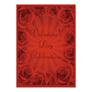 Romantic Red Roses Valentine's Day Party 5x7 Paper Invitation Card