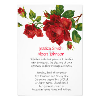 Romantic Red Roses Wedding Invite
