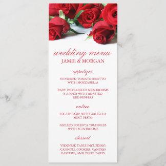 Romantic Red Roses Wedding Menu