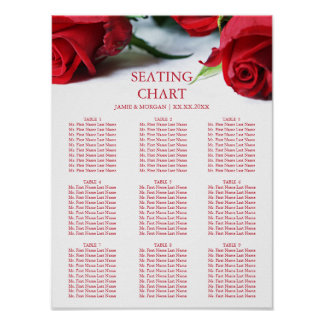 Romantic Red Roses Wedding Seating Chart