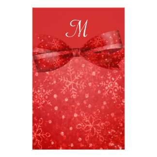Romantic Red & Shimmer Snowflakes Wedding Stationery