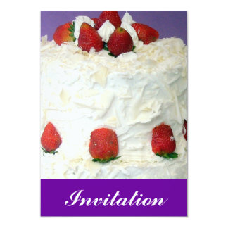 Romantic red strawberries with cream icing cake card