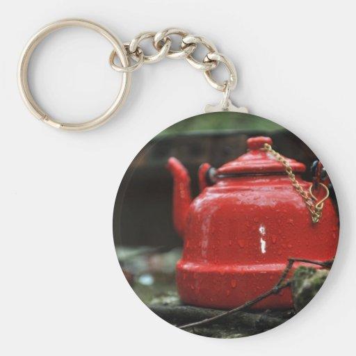 Romantic Red Tea Kettle Basic Round Button Keychain