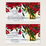Romantic Red Watercolor Roses Refer a Friend Business Card