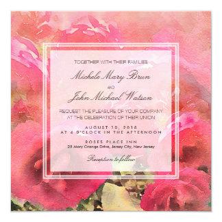 Romantic Red Watercolor Roses Wedding Invite
