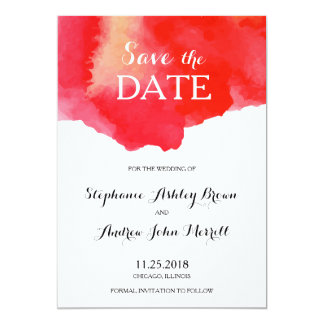 Romantic Red Watercolor Save the Date Card