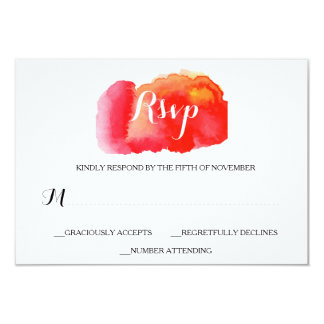 Romantic Red Watercolor Wedding RSVP Card