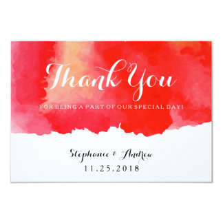 Romantic Red Watercolor Wedding Thank You Card