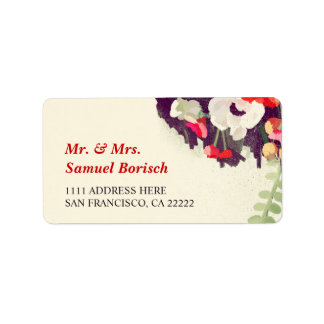 Romantic Red White Floral Art Return Address Personalized Address Label