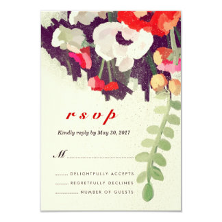 Romantic Red White Floral Art Wedding RSVP Card Invitation