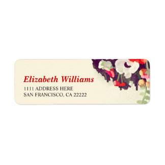 Romantic Red White Floral Return Address Labels