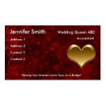 Romantic red with gold heart - Printed Double-Sided Standard Business Cards (Pack Of 100)